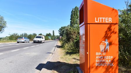 The large orange smart bins in the Beccles lay-by on the A146 have been removed. Picture: Nick Butch
