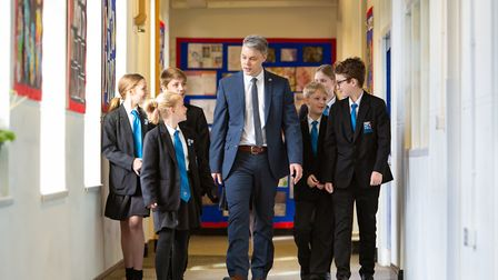 New Beccles Free School headteacher David Lees with pupils. Picture: Mike Kwasniak.