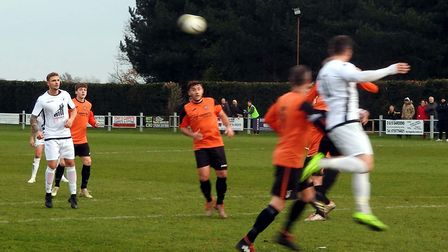 Clark and Shaw in corner action for Beccles Town at Bradenham Picture: CLUB