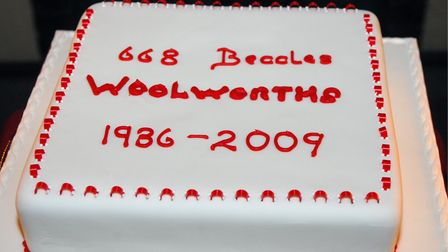 A cake was made to mark the time that Woolworths had been in Beccles. Photo: Nick Butcher, 2009.