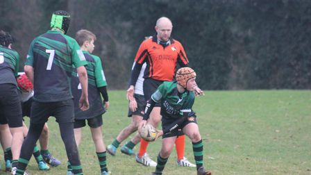 Harry Crannage on the ball for Beccles Under-14s during their exciting win over North Walsham Pictur