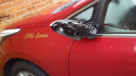 """The red car has a small plaque permently fixed with the name 'Little Jenny"""" - to pay tribute to his"""
