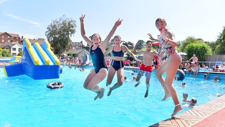 Beccles Lido during the summer heatwave. Picture: Nick Butcher.