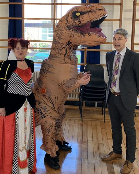 Staff and students and Beccles Free School celebrate World Book Day 2019. Photo: Beccles Free School