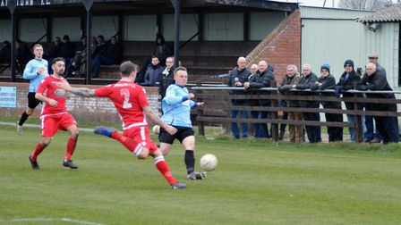 Darrell Wigger in action for Bungay Town in their 6-1 Anglian Combination First Division win over Re