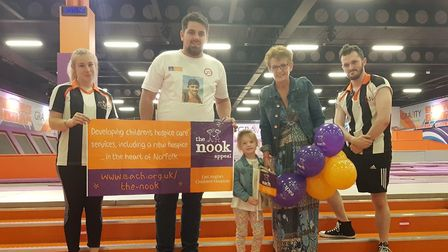 Aiden's Gift charitable trust donated £600 worth of vouchers for Norwich trampoline park Gravity to