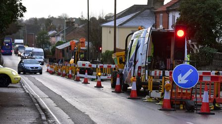 Essential Gas works are being undertaken in Beccles at London Road. Photo shows previous work in 20