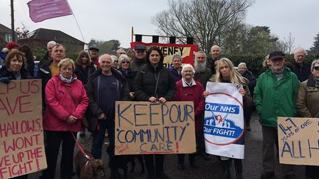 Campaigners at a handholding protest at All Hallows Healthcare Trust in Ditchingham. Picture: Joseph