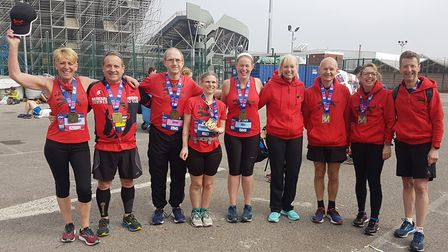Bungay Black Dogs Running Club were well represented at Sunday's Manchester Marathon Picture: KEN HU