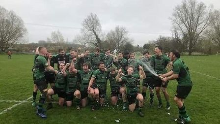Beccles RFC, champions of the Greene King IPA Eastern Counties One Shield, enjoy the moment at Hadle