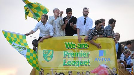 Norwich City celebrate promotion in 2011 with an open-top bus parade. Picture: Antony Kelly