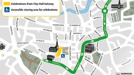 Norwich City's promotion parade route map for Bank Holiday Monday. Picture: Norwich City FC