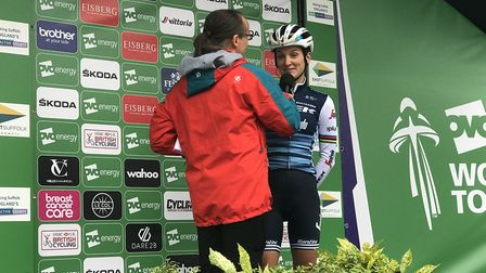 Former Women's Tour winner Lizzie Deignan is interviewed on the podium in Beccles ahead of stage one