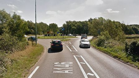Two cars collided at the roundabout adjoining the A146 with George Westwood Way in Beccles. Picture: