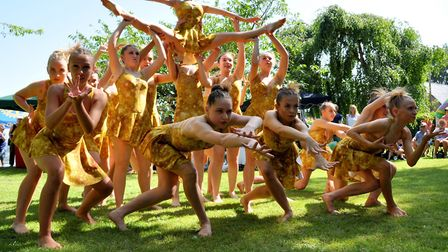 The finale of the June Glennie Dancers performance at the Beccles Hospital Fete. Pictures: John Swan