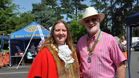 The mayor with Rotary president Paul Randle at the Beccles Hospital Fete. Pictures: John Swanbury