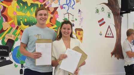 Lewis Morfitt and Casey Grimwood celebrating their results at the Sir John Leman Sixth Form. Photo: