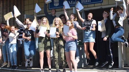 Jumping for joy - this year Sir John Leman celebrated its best ever grades with 68pc of students get