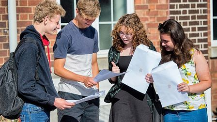 Students at Beccles Free School opening their results slips. Photo: Beccles Free School