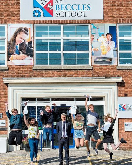 Students at Beccles Free School were also jumping for joy at results which saw every student get int