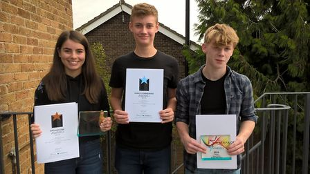 Left to right: Lauren Calver, Henry Rush, and Oliver Purllant. Photo: Bungay High School