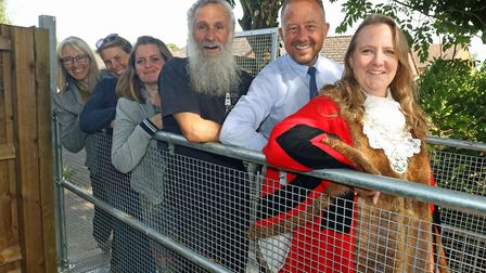 Opening the new footbridge enabling access to the community garden in Beccles are (from left): Carol