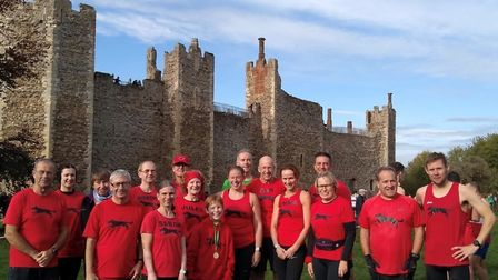 The BBDRC team at Framlingham Castle for the opening race of the Suffolk Winter League cross country