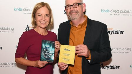 LONDON, ENGLAND - OCTOBER 14: Mariella Frostrup (L) and winner Ian W.Sainsbury attend the Kindle Sto