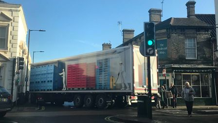 Beccles town centre became gridlocked after a lorry was unable to turn onto Station Road from Smallg