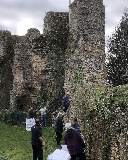 A team of 11 volunteers worked to restore the castle on its first 'volunteer day'. Photo: Terry Reev