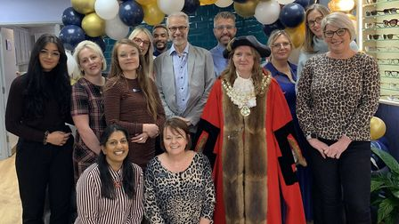 The Mayor of Beccles Andrea Carr with the whole team at Observatory. Picture: Observatory the Optici