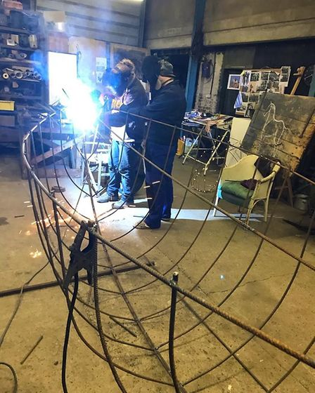 Welding the Ship of Light ready for the Norfolk Makers Festival. Picture: Sarah Cannell