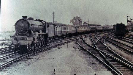 The train now arriving...a long passenger train enters Beccles station. Photo: Archant Library