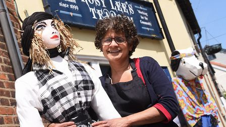 Chairman of the Loddon Scarecrow festival, Caroline Dwen, with her scarecrow 'Twiggy' outside her Ro