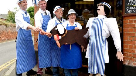 Chris Turner, Stuart Harris, Ross Boakes and Lynda Collings from the Wards Butchers with their scare
