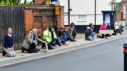 Around 60 people came together in Bungay, Suffolk to do a peaceful protest on Black Lives Matters ye