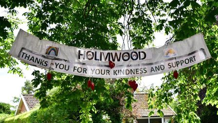 A banner in the garden of Holmwood Residential Home, Upper Olland Street in Bungay. PHOTO: Andrew At