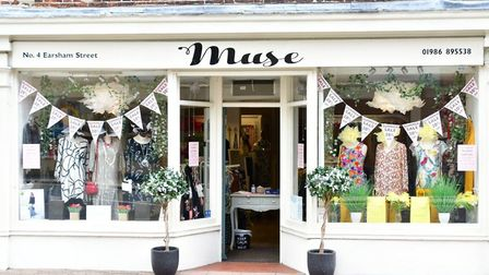 Window display at Muse Ladies Fashions, in Earsham Street, Bungay, during lockdown. PHOTO: Andrew At
