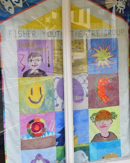 A Fisher Youth theatre poster in the Fisher Theatre window in Bungay during lockdown. PHOTO: Andrew