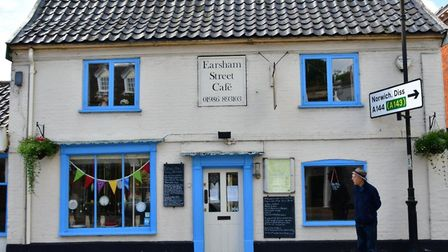 A window display at the Earsham Street Cafe in Bungay during lockdown. PHOTO: Andrew Atterwill