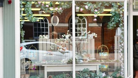 A window display at the Earsham Street Delicatessan in Bungay during lockdown. PHOTO: Andrew Atterwi
