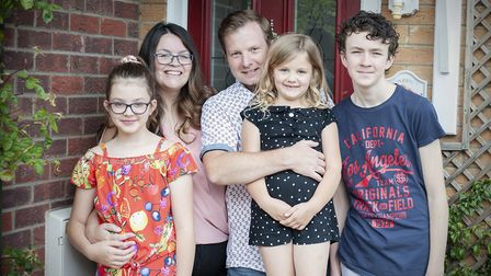 The Piper family taking part in Helen Nicholson's On My Doorstep project for Waveney Foodbank. PHOTO