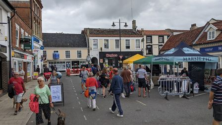 Beccles town centre on a busy day during the Food & Drink Festival. Picture: Beccles Food & Drink Fe