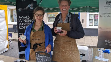 St Jude's and Fen Farm Dairy stall at the pop-up food and drink market in Beccles. Picture: Beccles