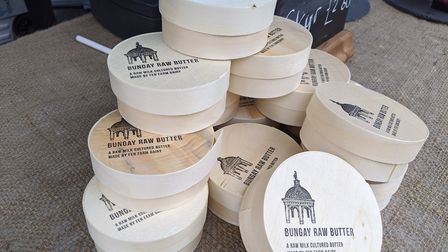 Raw butter on the Fen Farm Dairy stall at the pop-up food and drink market in Beccles. Picture: Becc