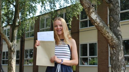 Maddy Workman with herA Level results at Sir John Leman School in Beccles. PHOTO: Sir John Leman Sch