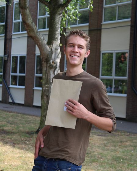 Michael Brown with his A Level results at Sir John Leman School in Beccles. PHOTO: Sir John Leman Sc