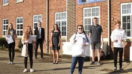 Head of school Heidi Philpott with pupils at SET Beccles School on GCSE results day 2020. PHOTO: Cha