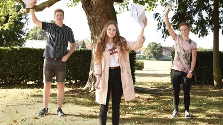 Nathan Sutton, Alexandra Farrington and Connor Prettyman at SET Beccles School on GCSE results day 2