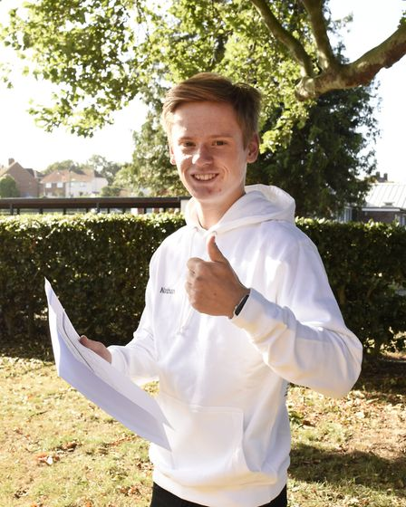 Connor Prettyman at SET Beccles School on GCSE results day 2020. PHOTO: Charlotte James Photography